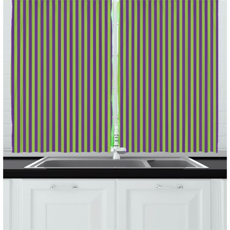Pop Art Curtains 2 Panels Set, Vintage Retro 50s Style Bold Stripes Vibrant Unusual Colors Image, Window Drapes for Living Room Bedroom, 55W X 39L Inches, Royal Blue and Lime Green, by Ambesonne - 50's Style Home Decor
