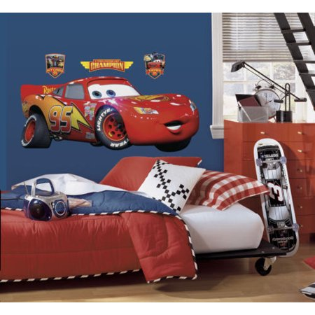 New GIANT LIGHTNING MCQUEEN WALL DECAL Disney Cars Movie Stickers Racing Decor - Racing Decor