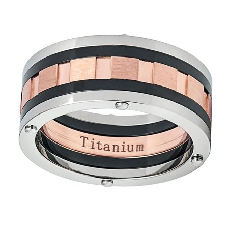 Men's Titanium Wedding Band Ring 9mm Multi Grooved Rose Tone Center (Rose Titanium)