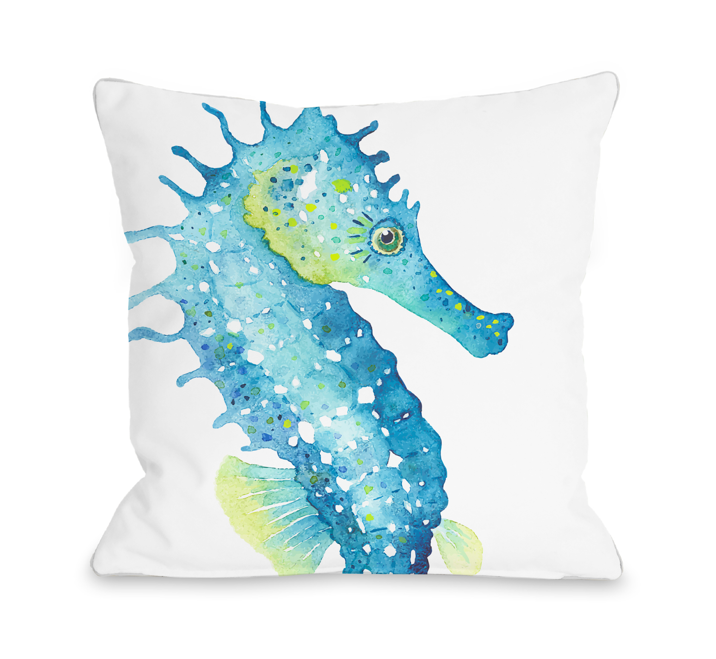 Oversized Seahorse - Green Blue 18x18 Pillow by OBC