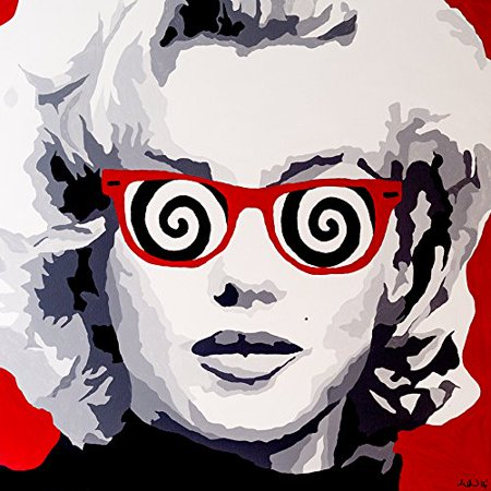 In Sync By Popartqueen 12X12 Gallery Wrap Art Print Poster Wall Decor Pop Art Marilyn Monroe Red Popart Swirls Chic Glam Sexy