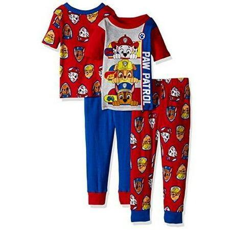 5c6b420531 Nickelodeon - Nickelodeon Boys  Paw Patrol 4-Piece Cotton Pajama Set -  Walmart.com