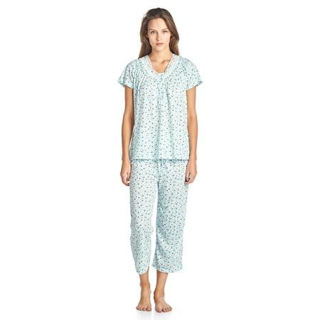 82c47519fdb Casual Nights - Casual Nights Women's Short Sleeve Floral Capri Pajama Set  - Walmart.com