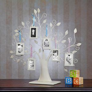 Baby Newborn White Metal Tree Display Stand with 6 2x3 Hanging Photo Picture Frames and Blue and Pink Ribbons by Klikel Inc