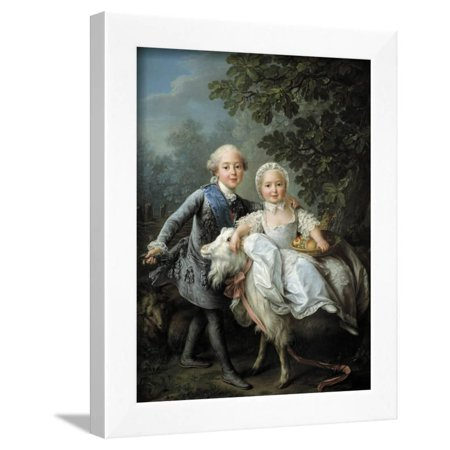 Portrait of Charles Philippe of France and His Sister Marie Adelaide by Francois-Hubert Drouais Framed Print Wall Art