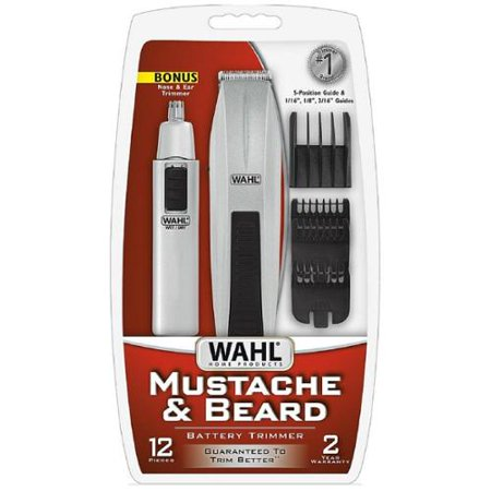 wahl mustache beard battery trimmer kit with bonus nose trimmer 1 ea pack of 6. Black Bedroom Furniture Sets. Home Design Ideas