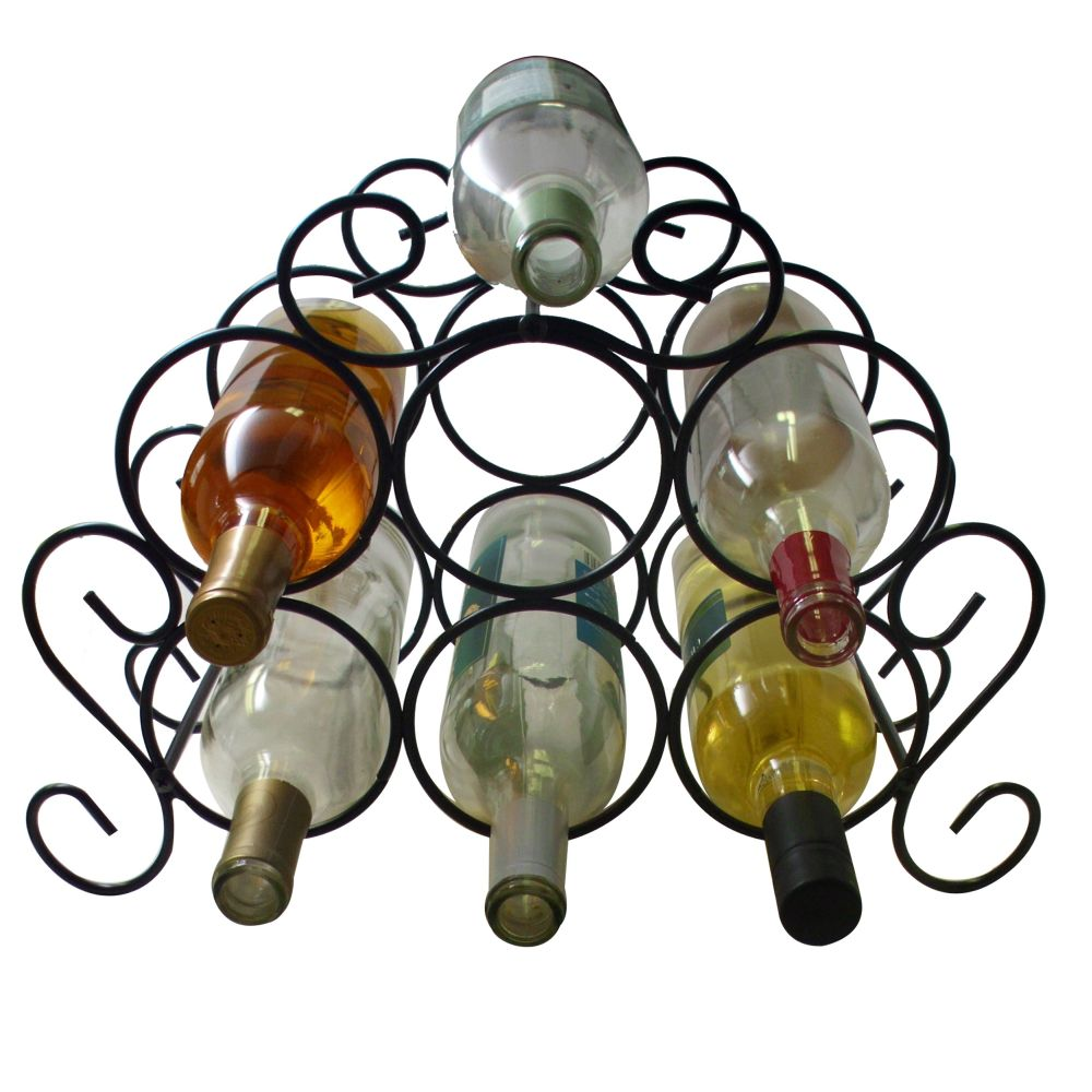 7 Bottle Minuet Wine Rack Black by Southern Homewares