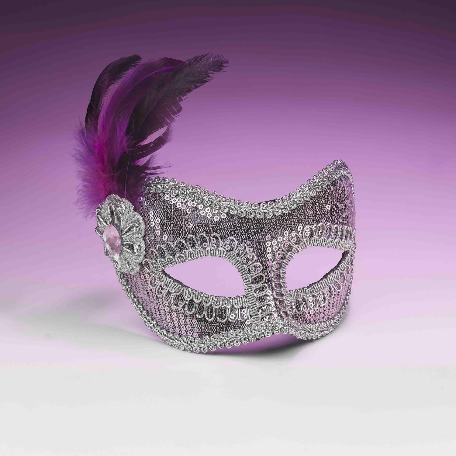 Pink And Silver Sequin Costume Fashion Masquerade Mask With Feather One Size