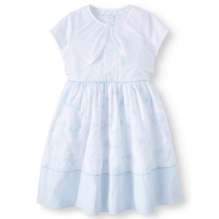 Girls' Printed Eyelet Easter Dress and Pointelle Shrug, 2-Piece Set - Girls 2 Piece Dress