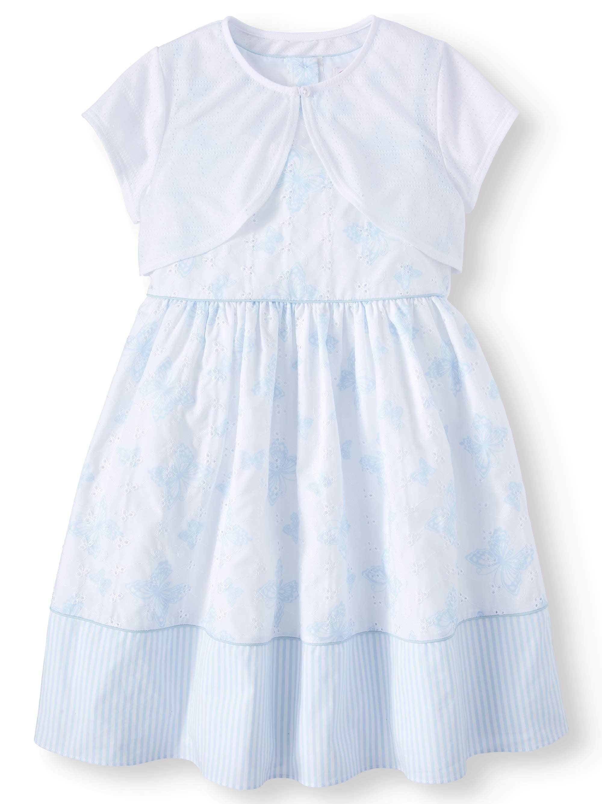 Girls' Printed Eyelet Easter Dress and Pointelle Shrug, 2-Piece Set