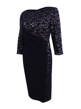 661f1c8c4f1a Product Image R&M Richards Women's Petite Lace Wrap Sheath Dress (12P, Black /Nude)