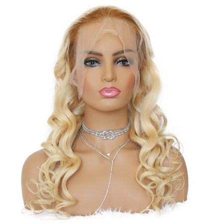 AISOM Lace Frontal Human Hair Wigs Brazilian Loose Wave Hair 613 Blonde Color 150% Density,