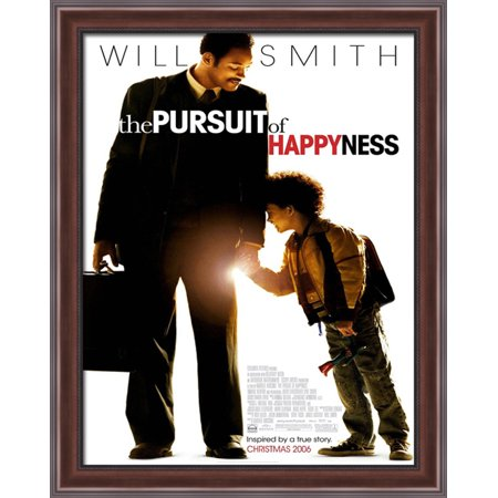 The Pursuit Of Happyness 28X36 Large Walnut Ornate Wood Framed Canvas Movie Poster Art
