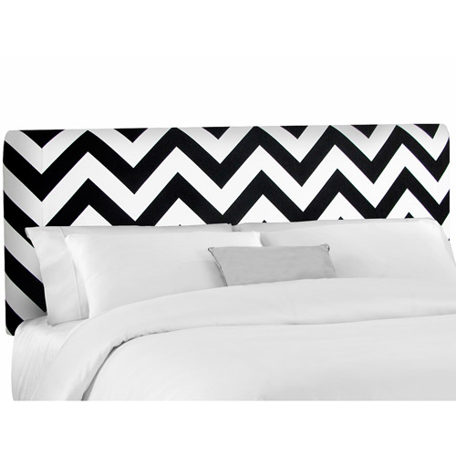 Skyline Furniture Black/White Zig-Zag Upholstered Headboard, Multiple Sizes