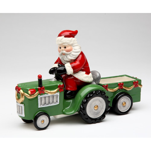 Cosmos Gifts Santa On a Tractor Salt and Pepper  Set and Box