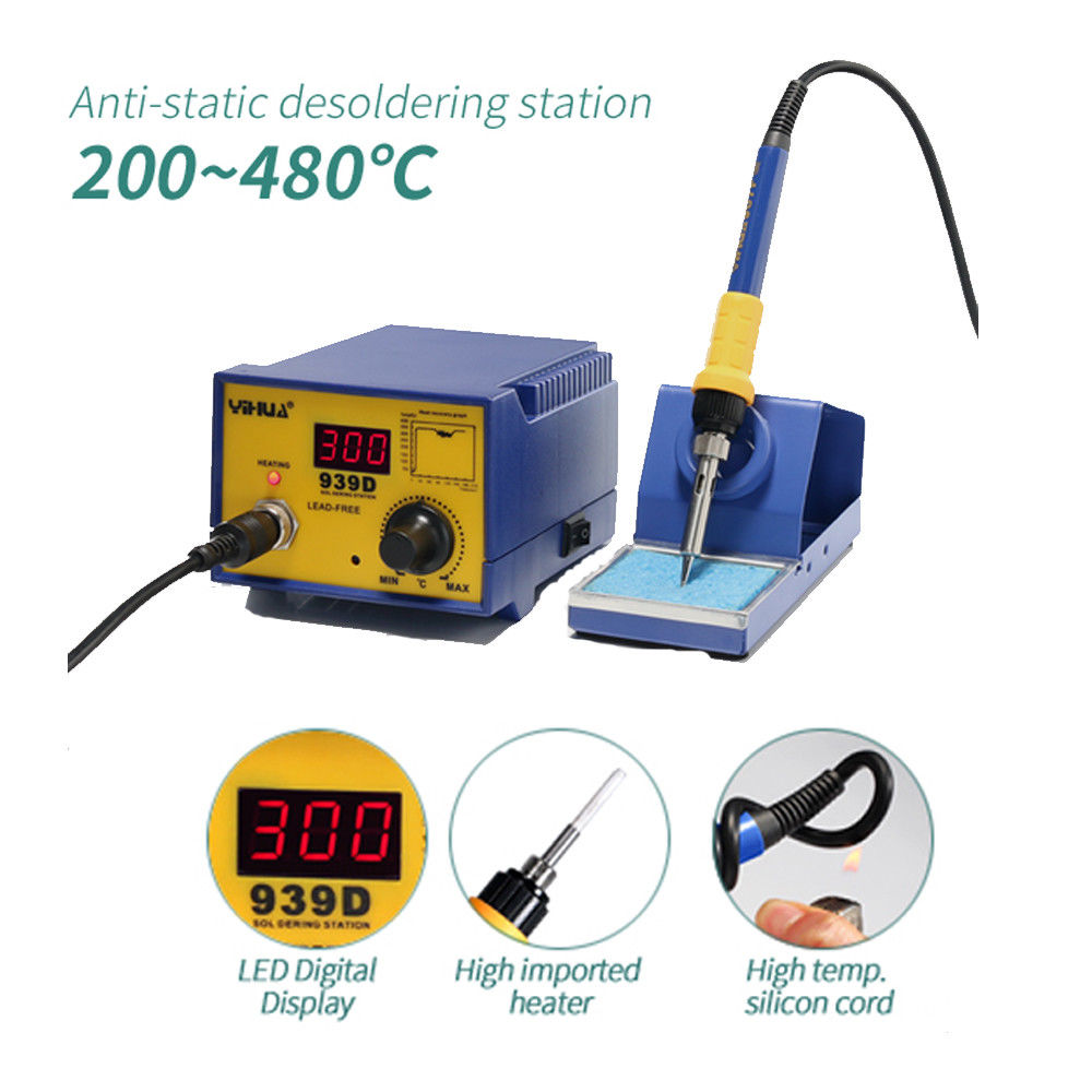 Ktaxon YiHUA-939D 60W  Anti-Static Electric Rework Thermostat Soldering Station Iron Stand Holder Handle, Welding Tools Machine, SMD ESD