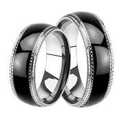 Black Matching His And Hers Wedding Bands Ring Set For Him Her Men Women