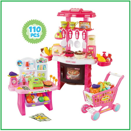 Kitchen Set for kids Supermarket for girls Playset Shopping Cart Pink Pretend play food cooking toy Shopping Toy Multifunction](Shopping For Toys)