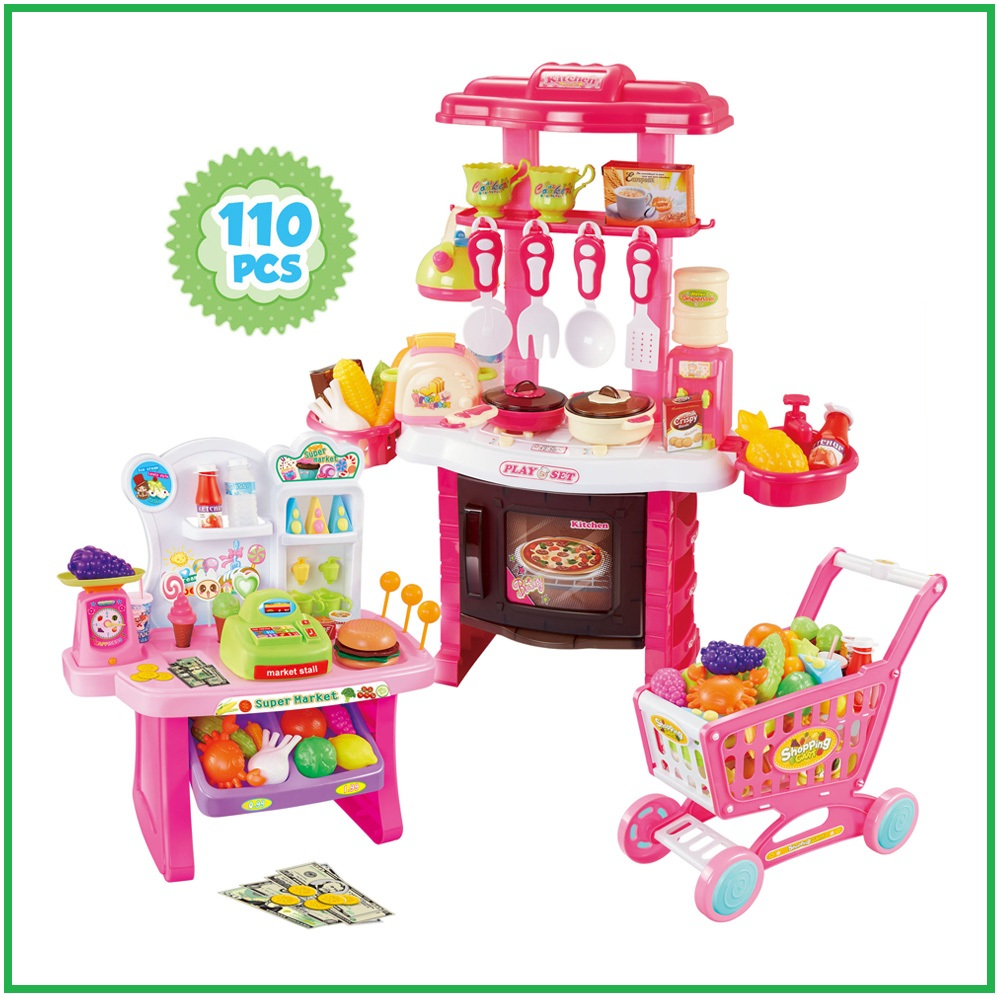 Delicieux Kitchen Set For Kids Supermarket For Girls Playset Shopping Cart Pink  Pretend Play Food Cooking Toy Shopping Toy Multifunction