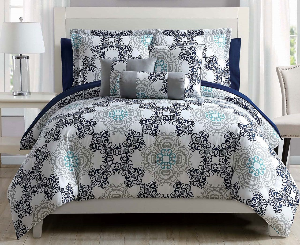 10 Piece Olena Gray/Gold/White Comforter Set w/Sheets - Walmart.com