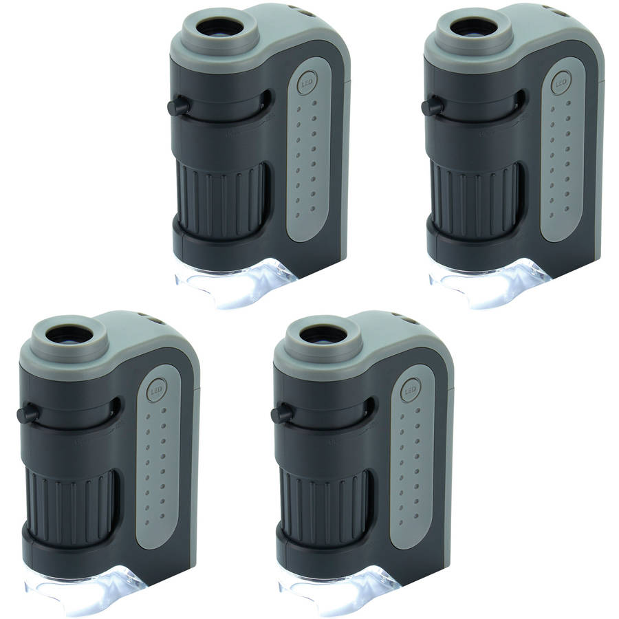 4pk Carson MM-300 Microbrite Plus 60x-120x LED Pocket Microscope