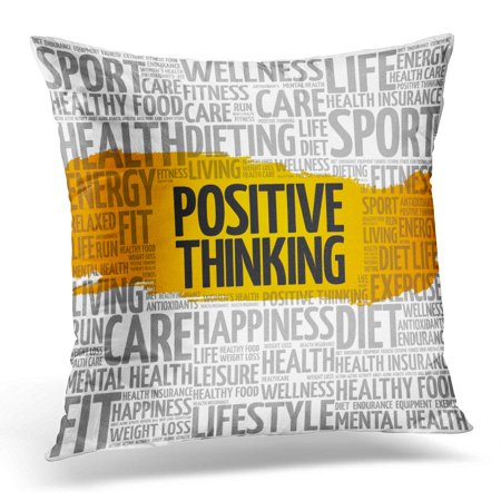 ECCOT Best Positive Thinking Word Cloud Collage Health Concept Activity Pillowcase Pillow Cover Cushion Case 20x20 (Best Cloud Word Processor)