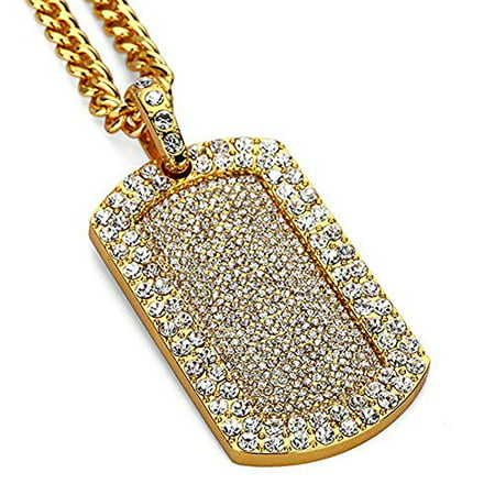 Gold Mens Franco Chain (Mens New Iced Out Hip Hop Full CZ Dog Tag Pendant Franco Chain Necklace 24in (Gold))