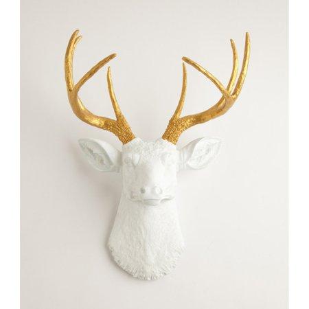 White Faux Taxidermy Deer Head Wall Mount
