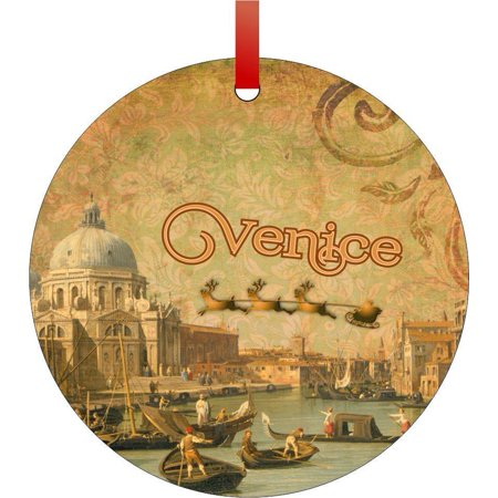 Vintage Santa and Sleigh Riding Over Venice Flat Round - Shaped Christmas Holiday Hanging Tree Ornament Disc Made in the U.S.A.