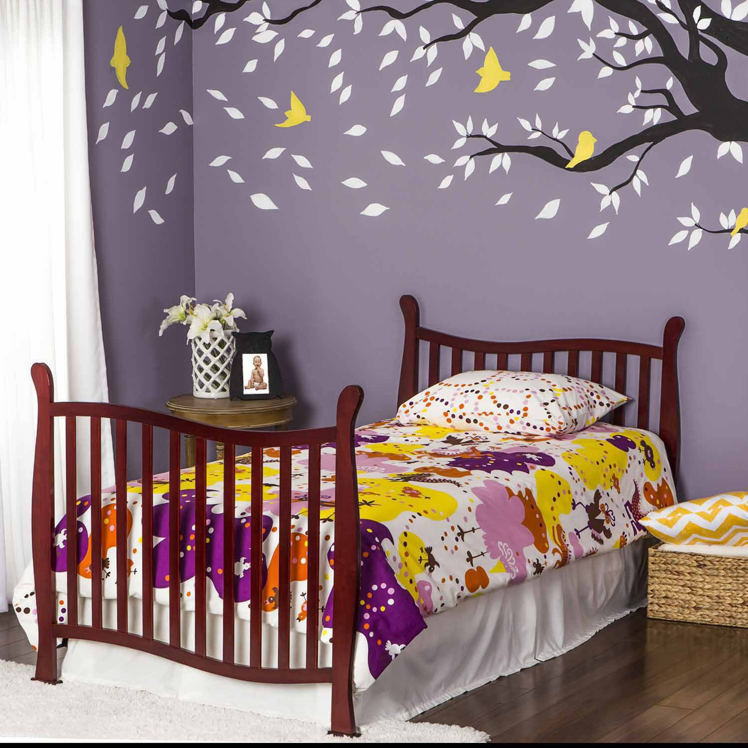 convertible mini cribs in davinci raw collection crib emily magnifier cherry