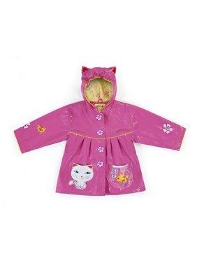 Little Girls Pink Lucky Cat Pockets Ears Hooded Rain Coat 2T-6X