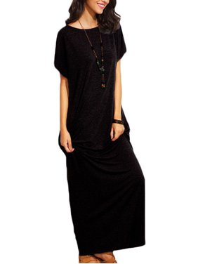 56b4f603d0acc Product Image Women's Short Sleeve Crew Neck Solid Long Dresses for Women