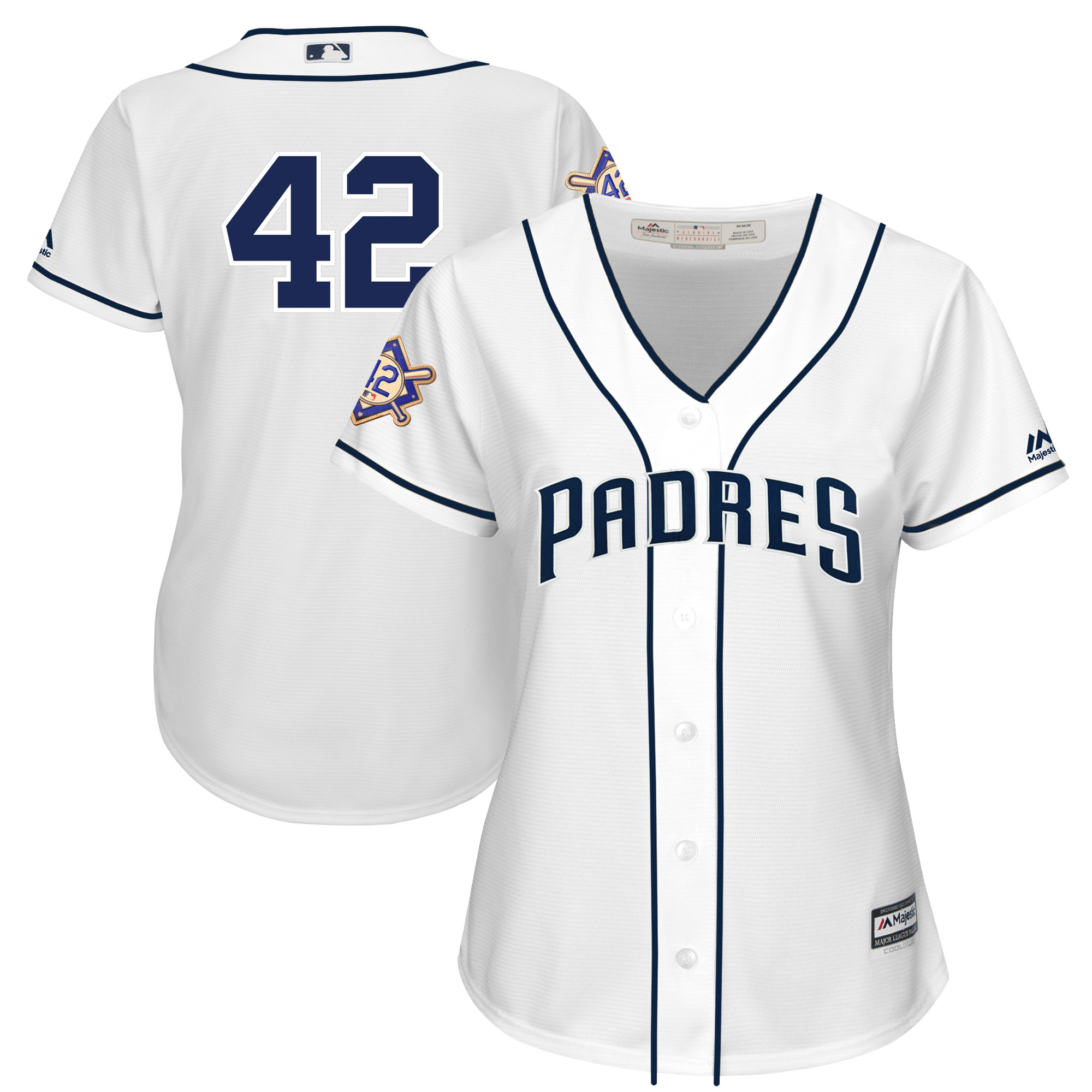 San Diego Padres Majestic Women's 2019 Jackie Robinson Day Official Cool Base Jersey - White
