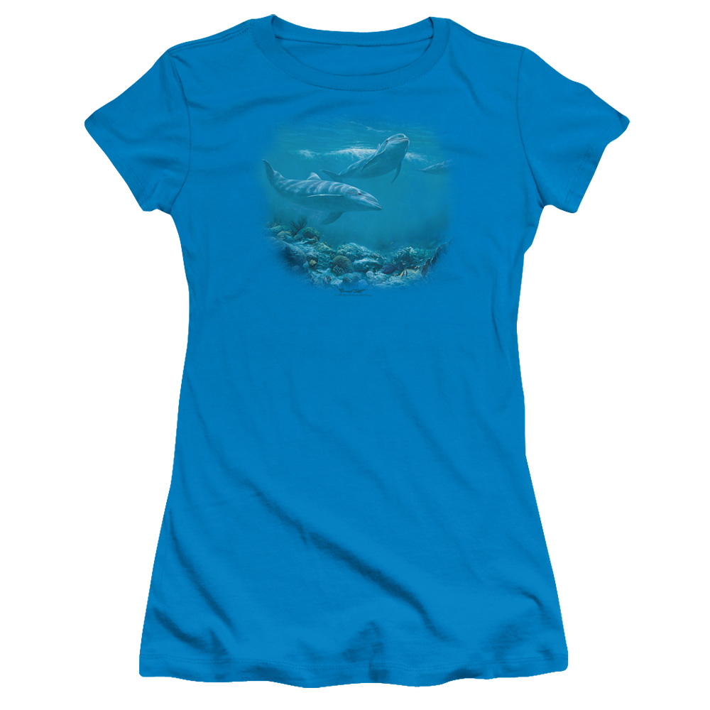 Wildlife Bottlenosed Dolphins Juniors Short Sleeve Shirt