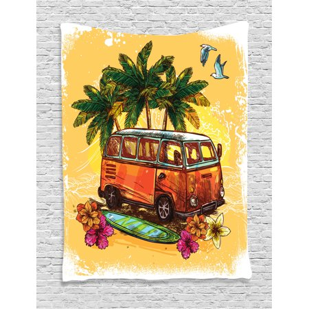 Surf Decor Wall Hanging Tapestry, Hippie Classic Old Bus With Surfboard Freedom Holiday Exotic Life Sketch Style Art, Bedroom Living Room Dorm Accessories, By - Surf Decor Ideas