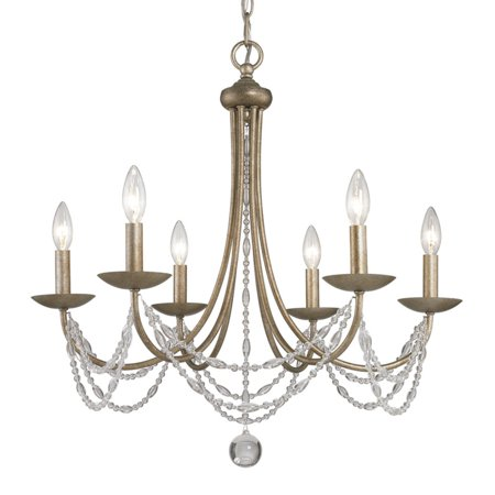 Golden Lighting 7644-6 Mirabella 6 Light Crystal Chandelier