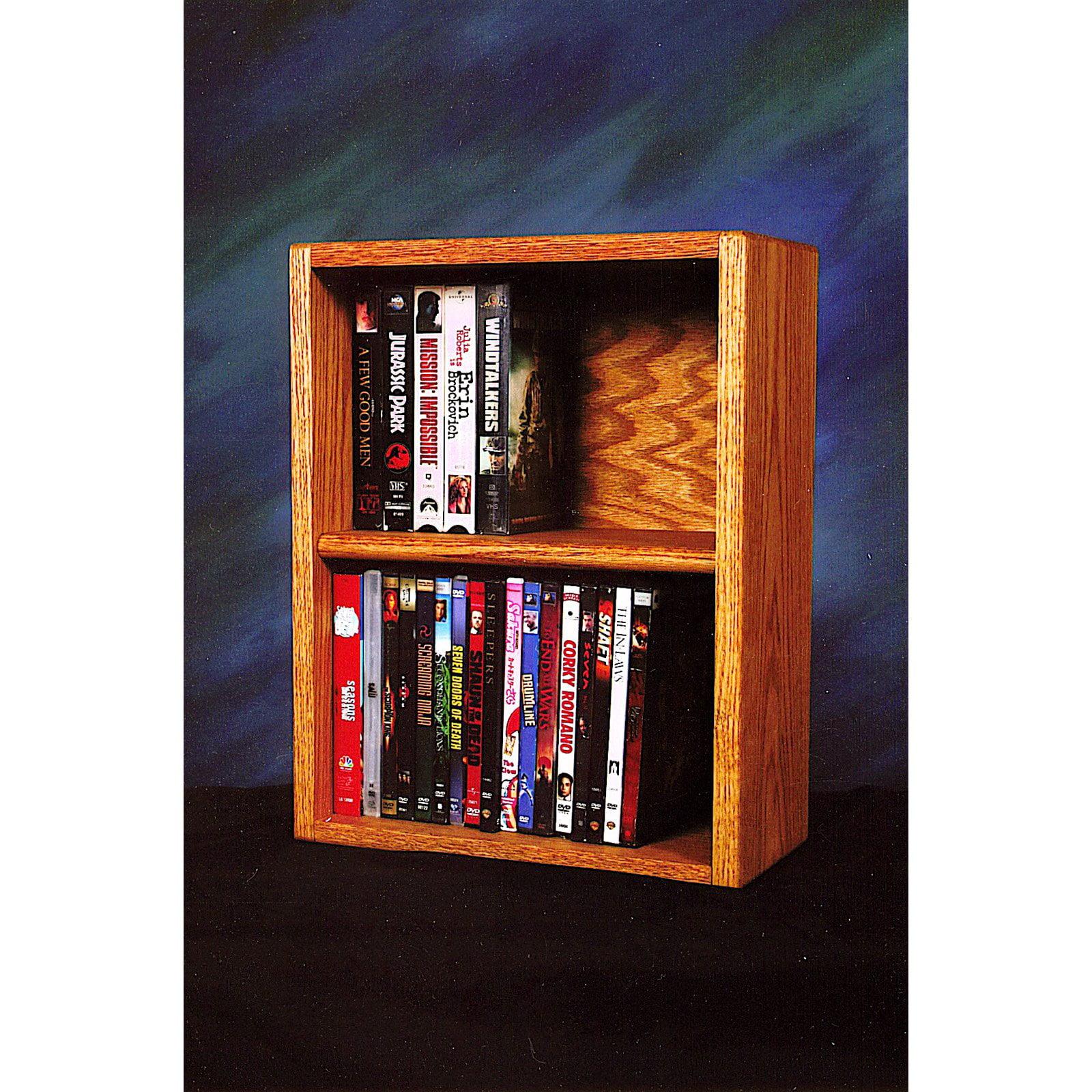 The Wood Shed Solid Oak Desktop / Shelf 52 DVD / VHS Media Cabinet