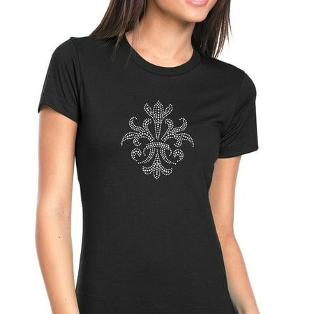 Rhinestone Fleur De Lis Tee - Womens T-Shirt Rhinestone Bling Black Tee Fleur de Lis Tribal Crystal Crew Neck XX-Large