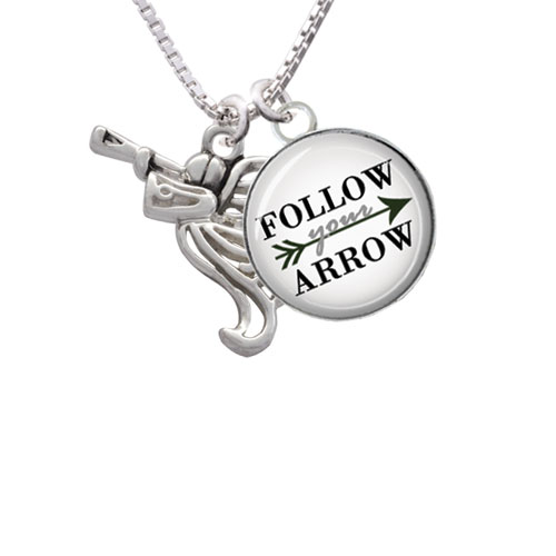 """Trumpeter Angel Follow Your Arrow Glass Dome Necklace, 18""""+2"""""""