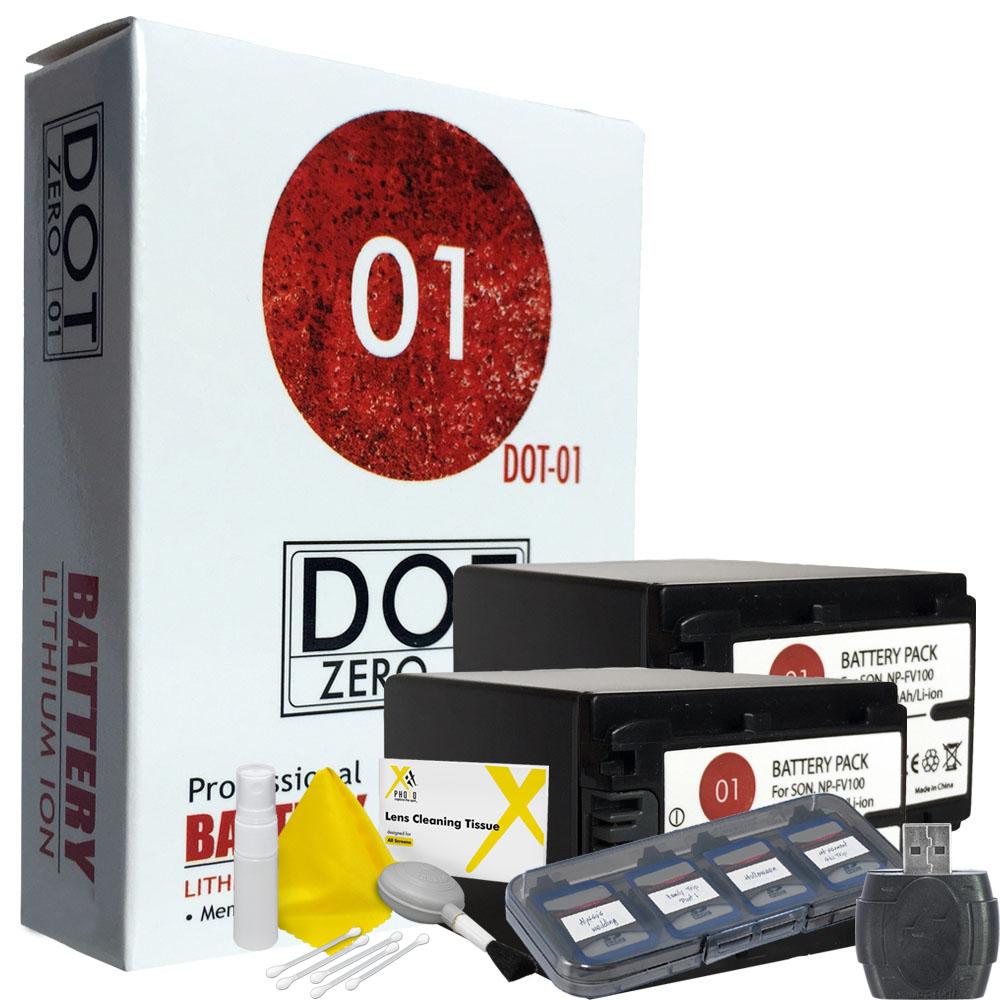 2x DOT-01 Brand 3150 mAh Replacement Sony NP-FV100 Batter...