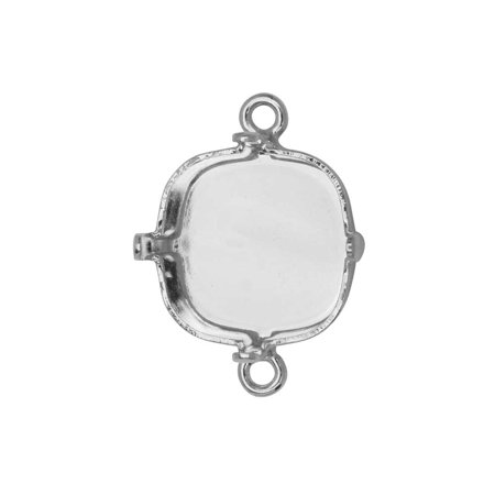 Gita Jewelry Stone Setting for Swarovski Crystal, Square Connector for 12mm Cushion, Rhodium Plated (Jewelry Connectors)