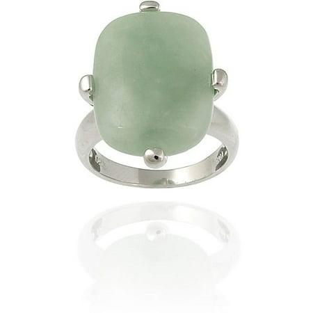 Sterling Silver Rectangular Green Jade Ring