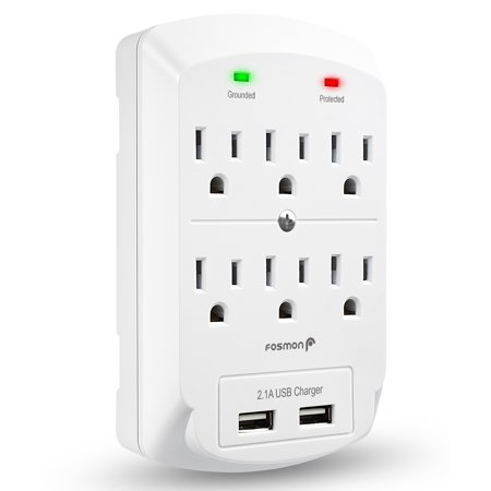 6 Outlet Wall Adapter Tap with USB Charger, Fosmon 3-Prong Wall Mount Outlet Surge Protector, 1875 Watts Indoor 2 Dual 2.1A USB Port, ETL Listed - White