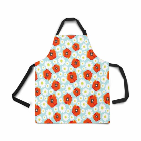 ASHLEIGH Adjustable Bib Apron for Women Men Girls Chef with Pockets Flower Field Daisy Poppy Allover Pattern Novelty Kitchen Apron for Cooking Baking Gardening Pet Grooming