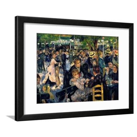 Ball at the Moulin De La Galette, 1876 painting of men and women Framed Print Wall Art By Pierre-Auguste