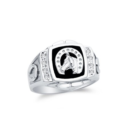 Mens 925 Sterling Silver CZ Cubic Zirconia Lucky Horseshoe Embossed Ring , Size 7