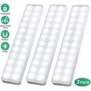 LED Closet Light,24-LED Newest Version Dimmer Motion Sensor Closet Light Under Cabinet Wireless Night Light Bar Suitable for Stick-Anywhere Stairs,Wardrobe,Kitchen,Hallway(3 Packs)
