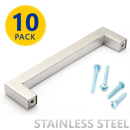 10 Pack Stainless Steel Square Bar Cabinet Pulls 5 Inch Hole