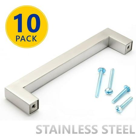 10 pack stainless steel square bar cabinet pulls 5 inch hole spacing modern brushed satin. Black Bedroom Furniture Sets. Home Design Ideas