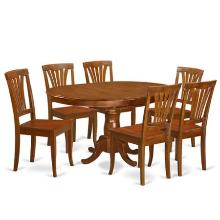 Poav7 sbr chestnut rubberwood 7 piece dining room set for Kitchen table set 7 piece